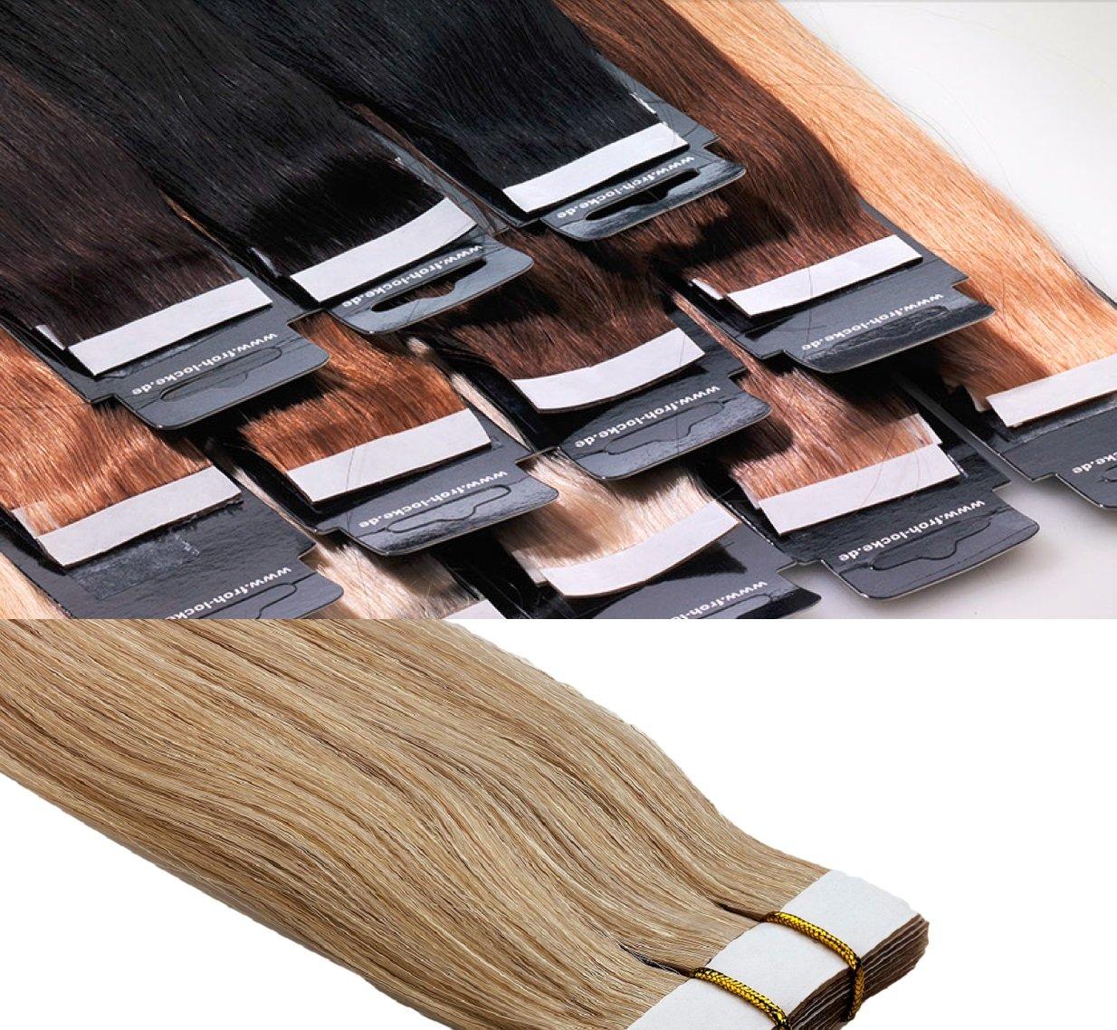 Tape In/On Echthaar Extensions Haarqualität: Virgin Remy - höchste Qualitätsstufe 60cm 10 Tressen Marke Frohlocke SALON PRO (24 - goldblond) SP