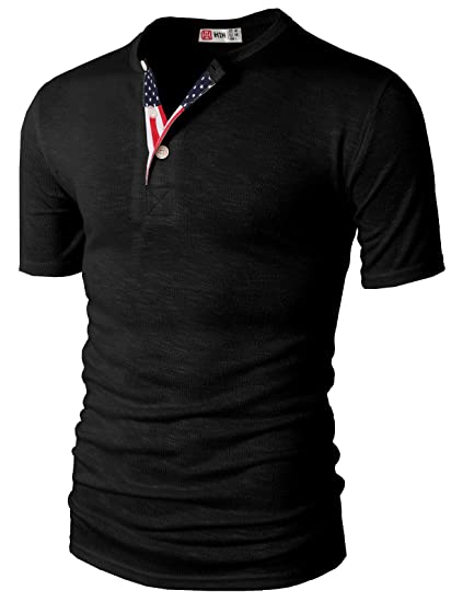 H2H Mens Casual Henley Slim fit Short Sleeve T-Shirts Black US S Asia a58e2e3ad8