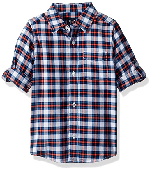 20a2474489 Amazon.com: The Children's Place Big Boys' Gingham Double-roll Shirt ...