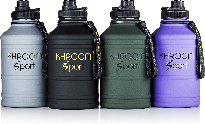 Khroom® Botellas de Agua de Acero Inoxidable de 2.2 litros   Botella Deportiva de Agua con Revestimiento de Goma Mate   XXL Botella de Agua Libre de DEHP y BPA
