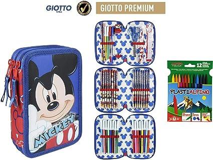 Plumier Estuche Premium de cremallera triple 3 pisos Mickey Mouse 43 piezas contenido Giotto + REGALO 12 Ceras Alpino Plastialpino: Amazon.es: Oficina y papelería