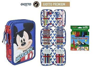 Plumier Estuche Premium de cremallera triple 3 pisos Mickey Mouse 43 piezas contenido Giotto + REGALO 12 Ceras Alpino Plastialpino