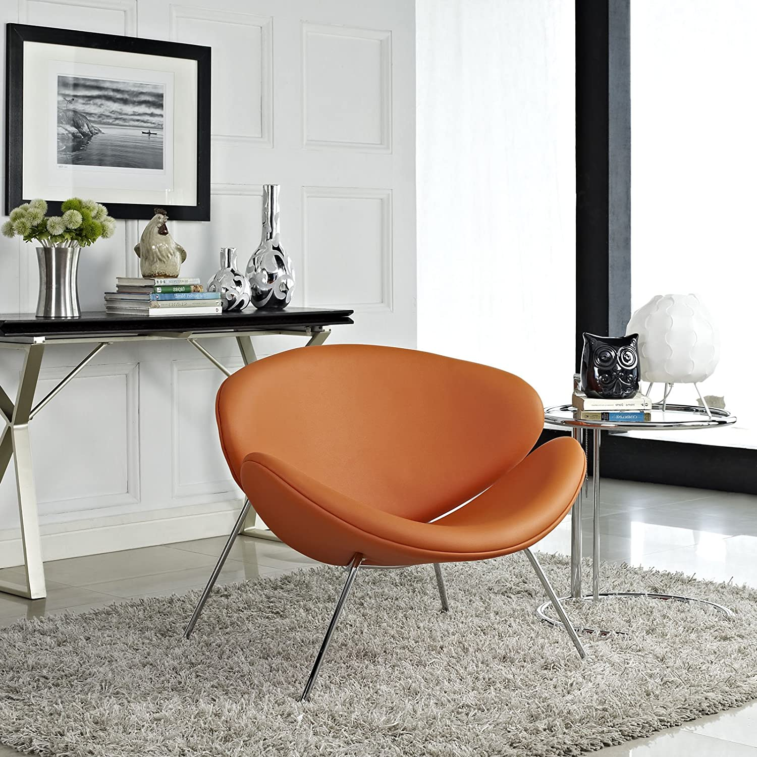 Amazon.com: Modway Nutshell Mid Century Modern Faux Leather Lounge Chair In  Orange: Kitchen U0026 Dining