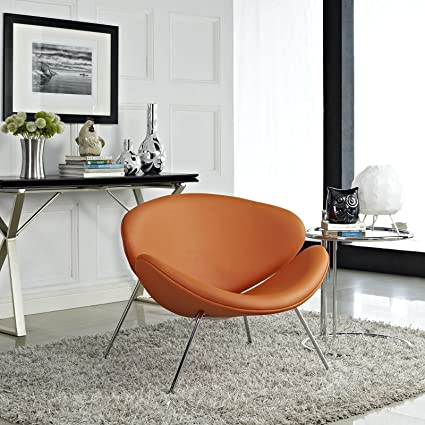 Fabulous Modway Nutshell Mid Century Modern Faux Leather Accent Lounge Chair In Orange Machost Co Dining Chair Design Ideas Machostcouk