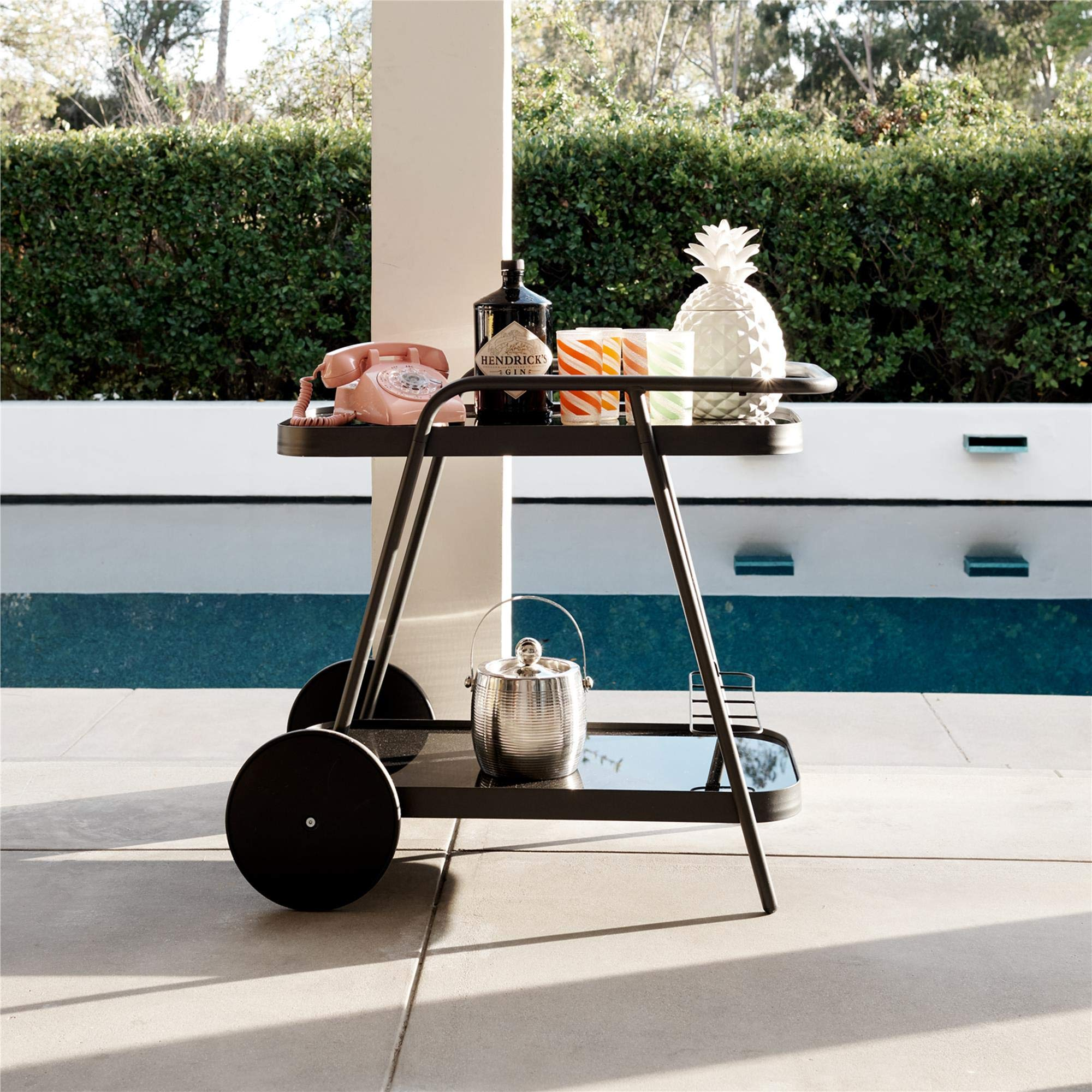 Novogratz 88191CHC1E Poolside Barbie Outdoor Bar Cart, Charcoal Gray