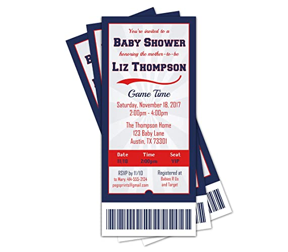 Amazon sports ticket baby shower invitation sports baby sports ticket baby shower invitation sports baby shower invitations boy baseball baby shower filmwisefo Image collections