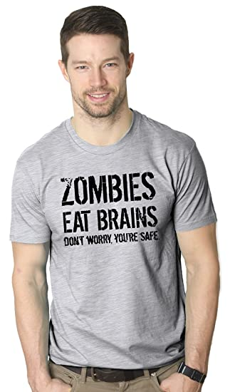 c14033ec9 Mens Zombies Eat Brains Shirt Funny Zombie T Shirts Living Dead Zombie  Outbreak Tees (Grey