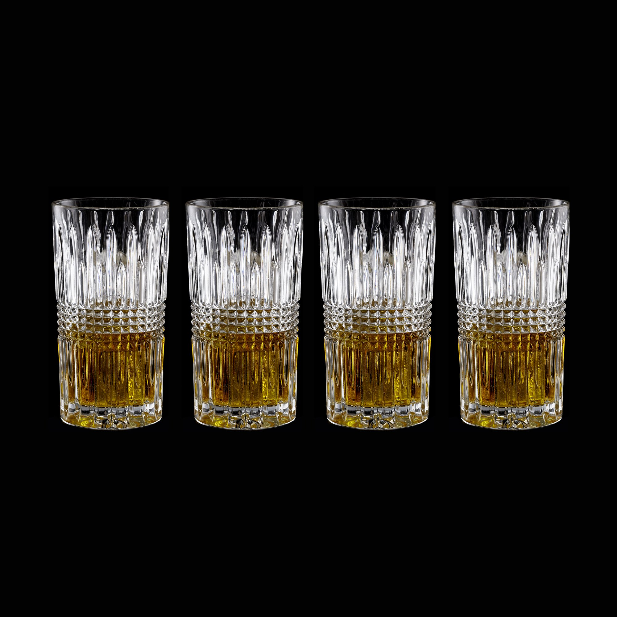 Fitz and Floyd 329052-4HB-B Danbury Highballs (Set of 4), Clear