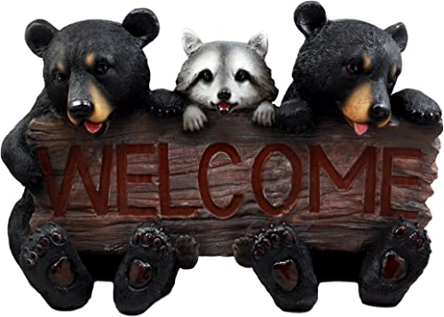 Ebros Gift 16″ Long Forest Welcome Sign Twin Black Bears and Raccoon Garden Greeter Outdoor Decorative Statue
