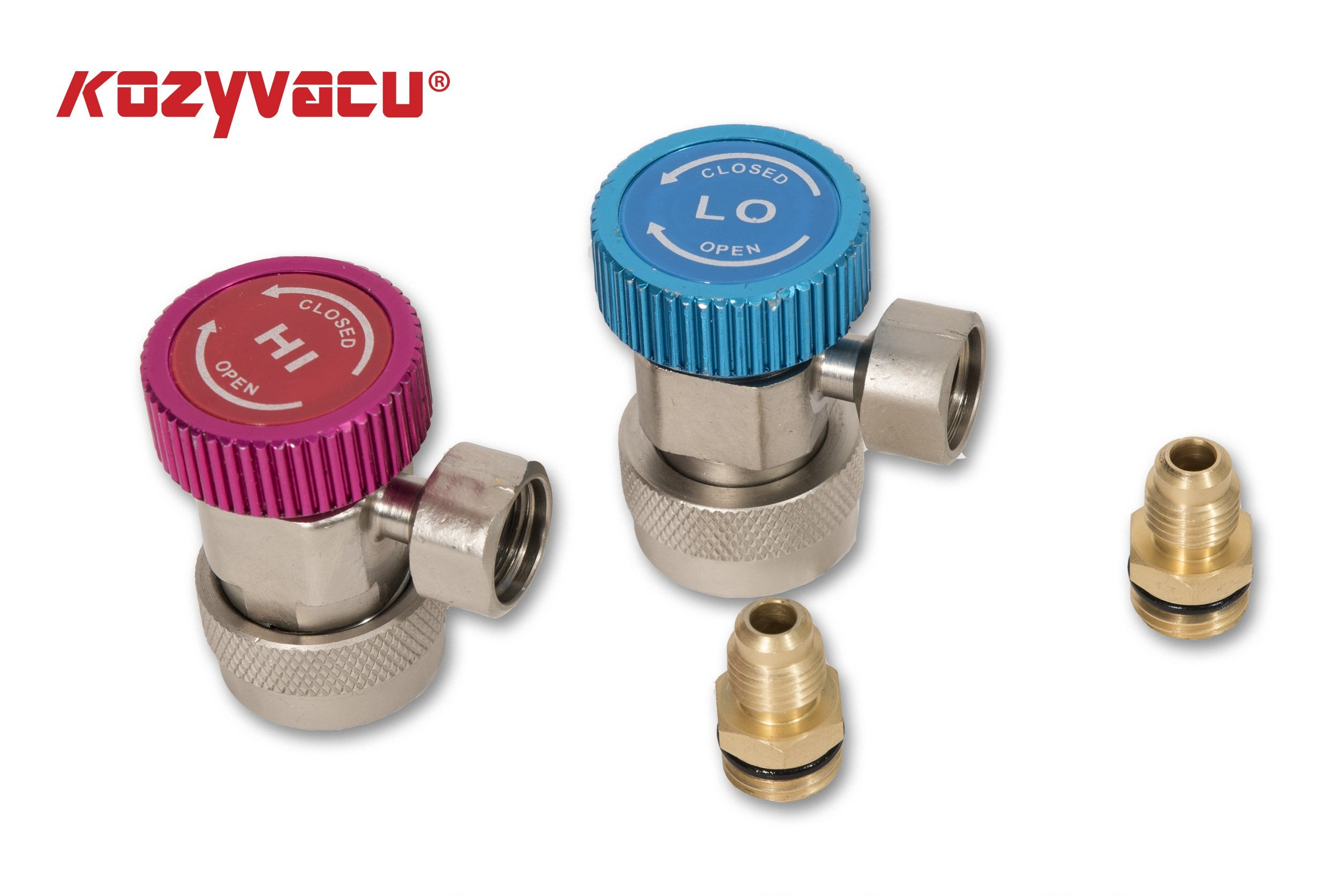 Kozyvacu Adjustable R134A Adapter Fittings Quick Coupler High Low AC Freon Manifold Gauge Hose Conversion kit, 1/4'' SAE HVAC by Kozyvacu (Image #5)