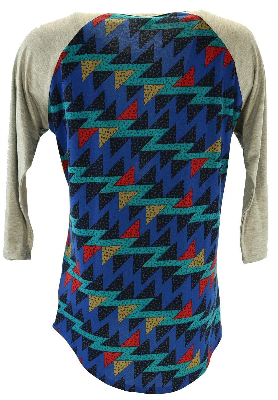 LuLaRoe Randy Raglan Long Sleeve Tee Shirt Blue Red Size L Tops