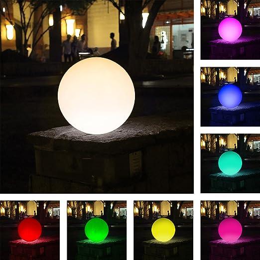 Flotante LED Ball 30 cm I Pool LED Jardín iluminación de 16 colores diferentes. I inalámbrico carga de inducción: Amazon.es: Jardín