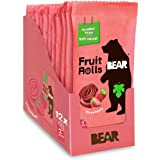 BEAR Real Fruit Snack Rolls - Gluten Free, Vegan, and Non-GMO - Strawberry – 12 Pack (2 Rolls Per Pack) - Healthy School And