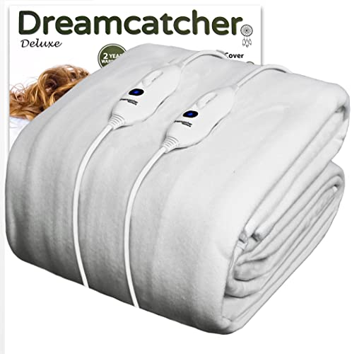 Dreamcatcher Super King Size Electric Blanket Luxury Polyester, SuperKing Size Bed 203 x 182cm Electric Heated Blanket, Soft Fitted Underblanket Fully Fitted Mattress Cover with 3 Comfort settings, 2 x Controllers and Machine Washable