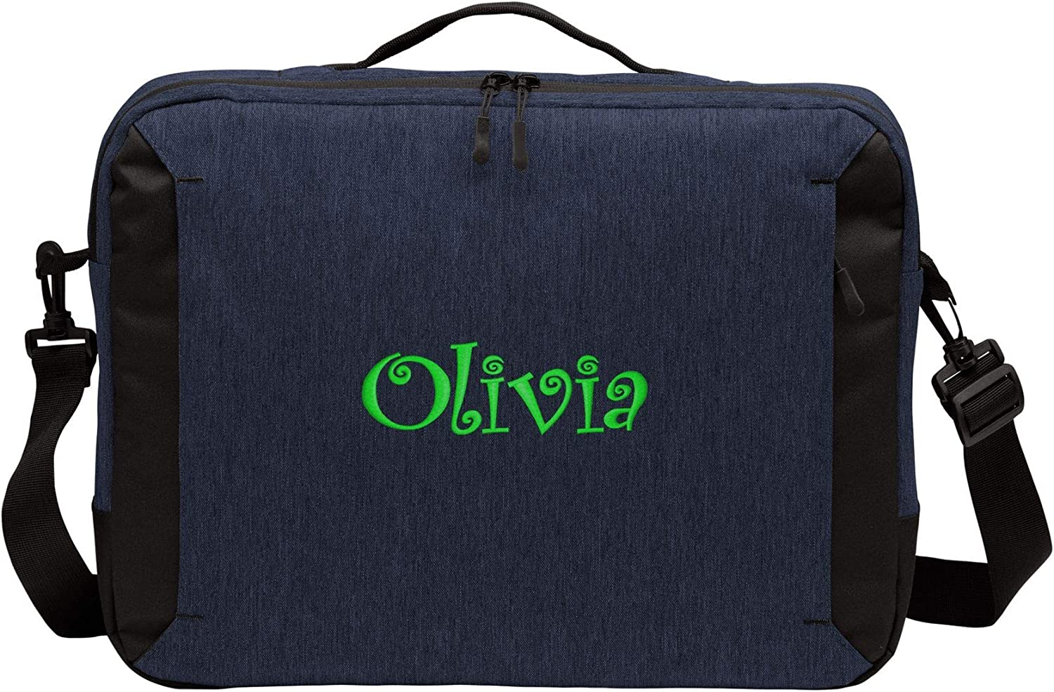 Personalized Monogrammed Laptop Bag with Custom Text Navy Heather Fashionaable Shoulder Bag with Customizable Embroidered Monogram Design