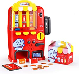 INSOON Interactive Vending Machine Toys Pretend Play Electronic Drinks Toys with Lights and Sounds Develop Common Sense Play Set for 3, 4, 5, 6, 7, 8 Years Old Boys and Girls