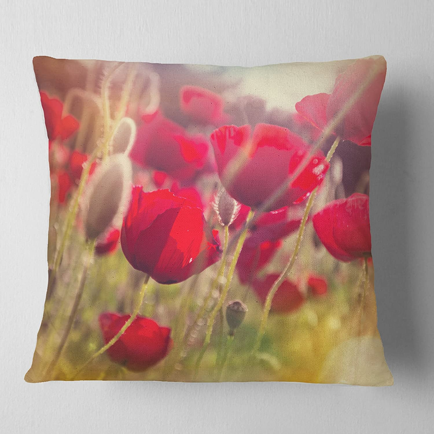Sofa Throw Pillow 18 in x 18 in Designart CU12339-18-18 Poppy Meadow in Sunlight Flower Cushion Cover for Living Room in Insert Printed On Both Side