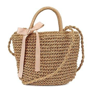 c8cf145170bef Pomelo Damen Handtasche Strohtasche kleine umhängetasche mit Schleife  handgemachte Rattan Tasche
