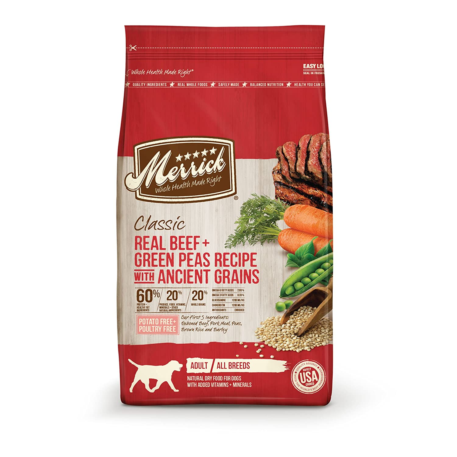 Merrick Dry Dog Food with Healthy Grains; Added Vitamins & Minerals for All Breeds
