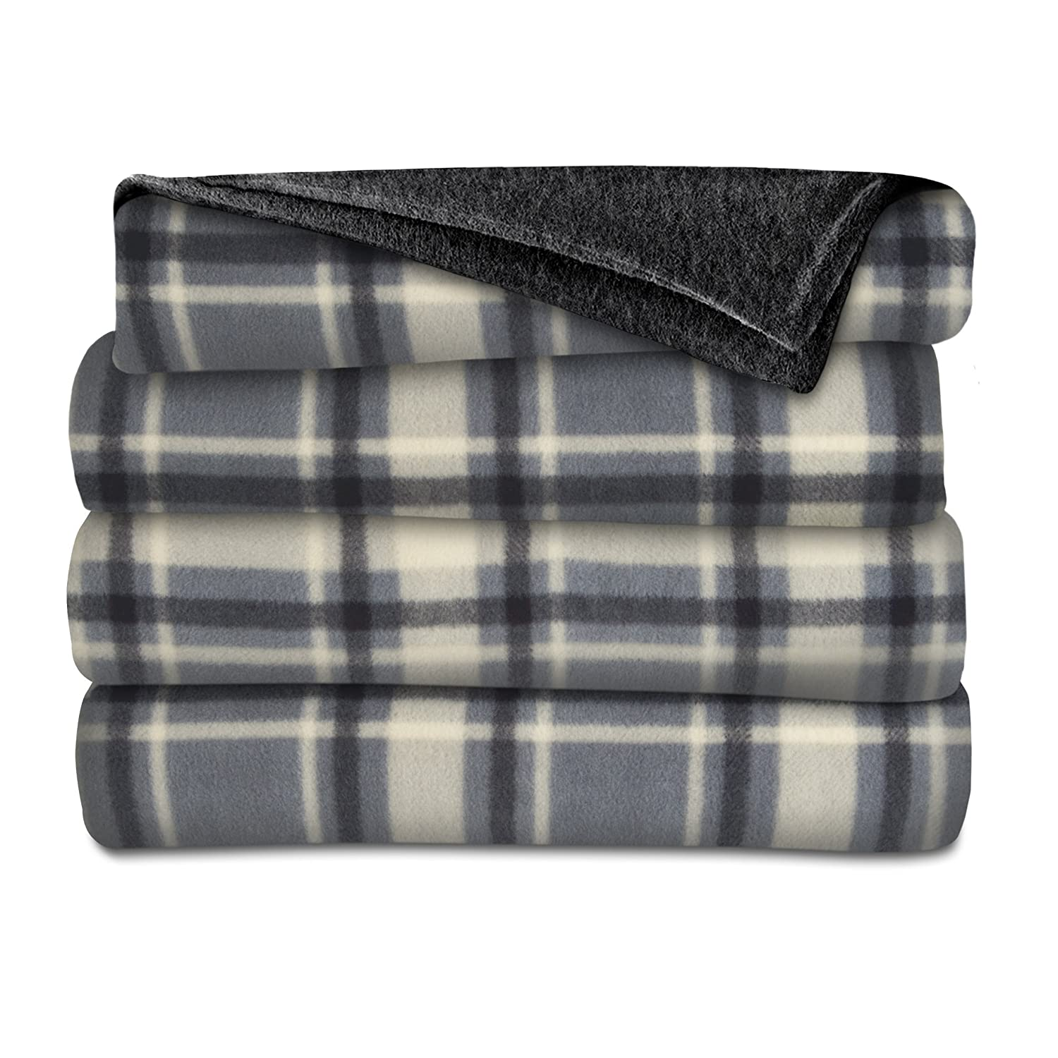 Sunbeam Heated Throw Blanket | Fleece, 3 Heat Settings, Slate/Plaid - TSF8TP-R871-33A00