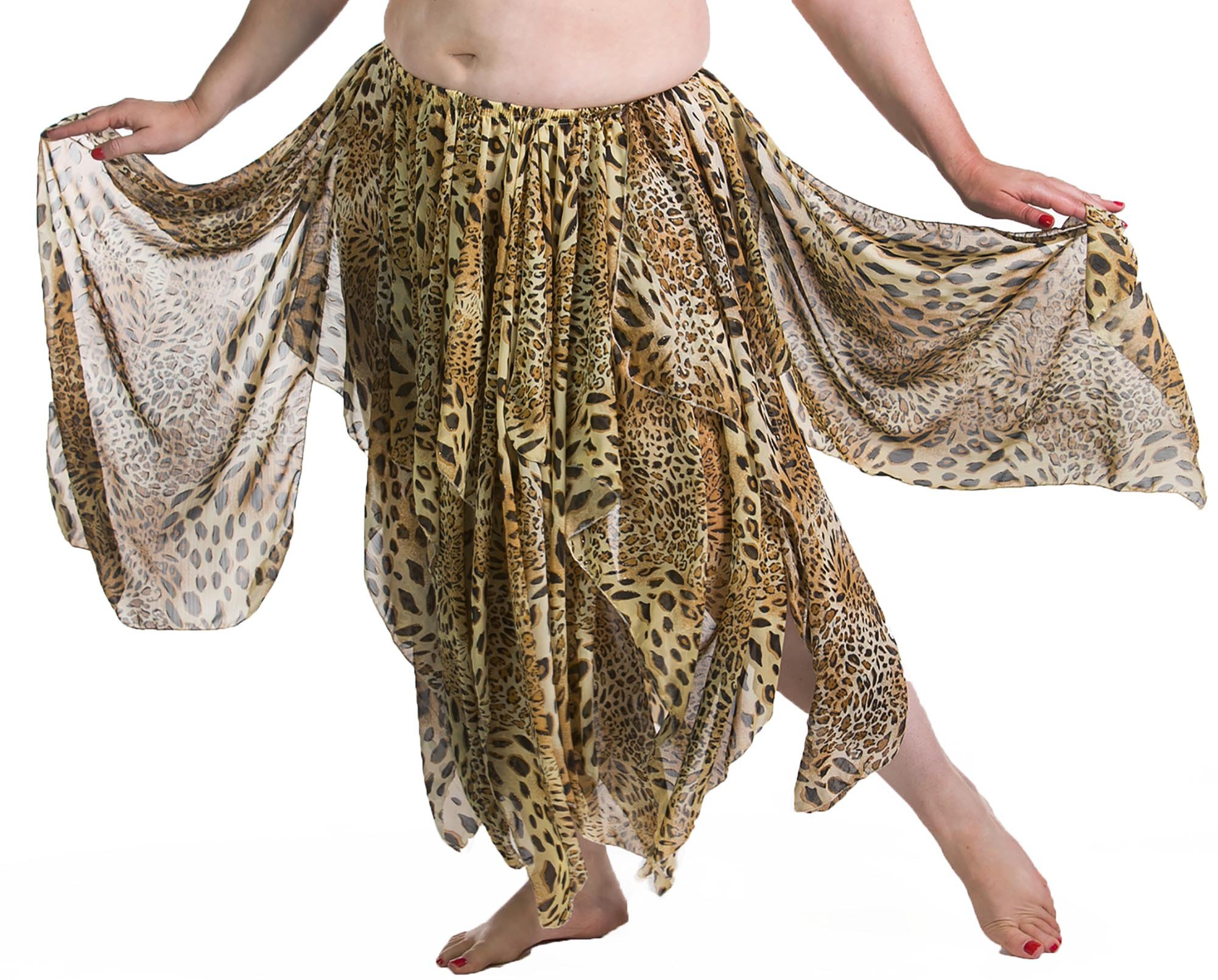 BELLY DANCE ACCESSORIES 13 PANEL CHIFFON SKIRT - LEOPARD by Miss Belly Dance