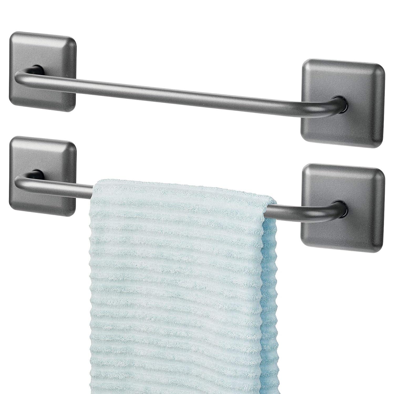 mDesign Juego de 2 toalleros de baño sin taladro - Toallero adhesivo para paños de cocina y toallas de invitados o de sauna - Práctico y elegante ...
