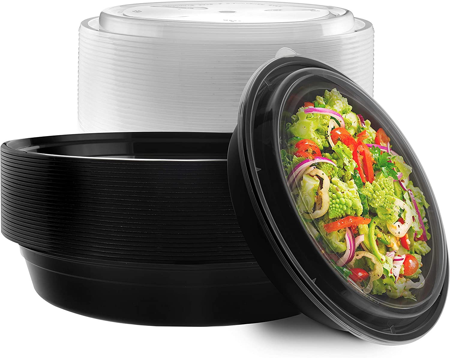 NYHI 9 IN Round Meal Prep Food Containers | One Compartment BPA-Free Plastic Food Storage Portion Control Dishes With Lids, Reusable Bento Lunch Box Microwave Dishwasher Freezer Safe 48 ounce, 25 Pack