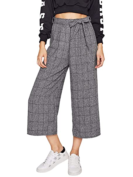 5458fc3046 SheIn Women's Casual Self Tie Elastic Waist Trousers Wide Leg Pants One  Size Grey: Amazon.ca: Clothing & Accessories