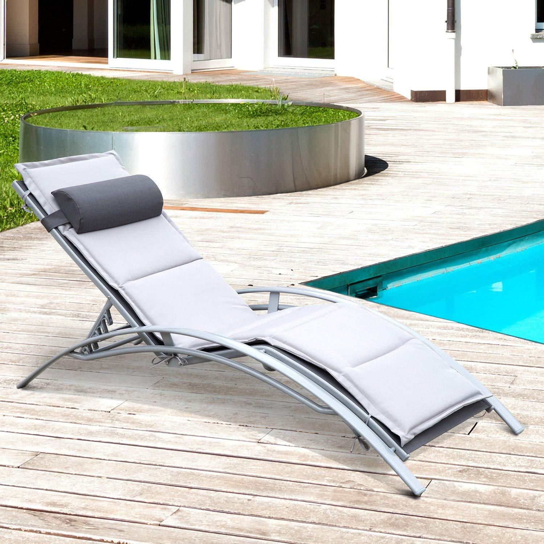 miozzi Lettino Chaise Longue da Giardino Poltrona Relax Grigia 170x64x80 cm