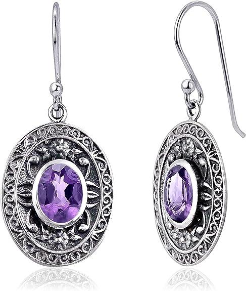 Blue Sapphire 925 Sterling Silver Birthday Gifts Dangle Earrings For Women By Orchid Jewelry Ruby Red Garnet 3.03 Ctw Oval Purple Amethyst Green Peridot