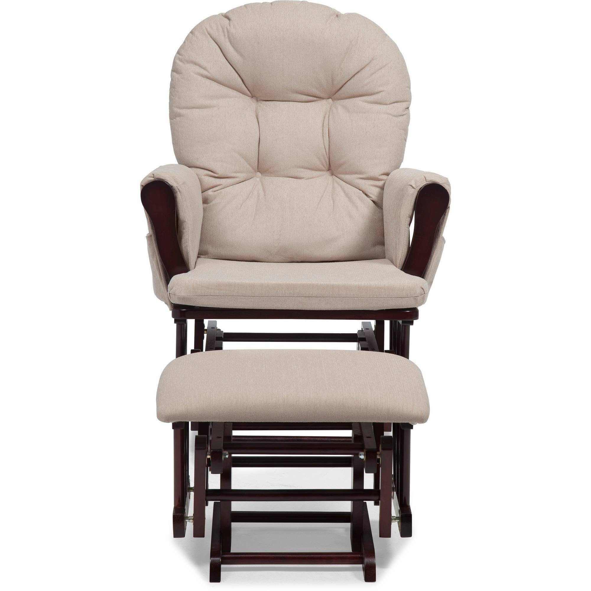 Comfort Glider and Ottoman, Cherry Finish and Beige Cushions Metal Ball Bearings for Smooth Motion The Pads Are Polyester with a Very Soft Luxurious Feeling Beautiful Non-Toxic Finish by AVA Furniture