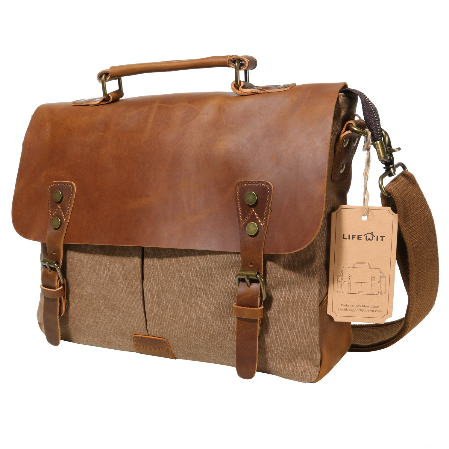 Lifewit Men Briefcase Leather Canvas Laptop Satchel Messenger Work Bag Fit up to 13.3-inch, Coffee