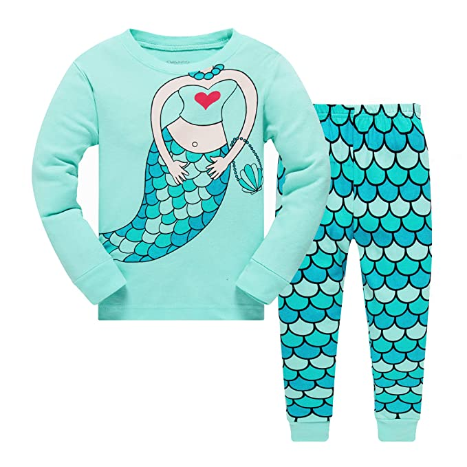 Little Girls Mermaid Pajamas Set Children Christmas PJs 100% Cotton  Sleepwear Size 2 to 7 944d26690