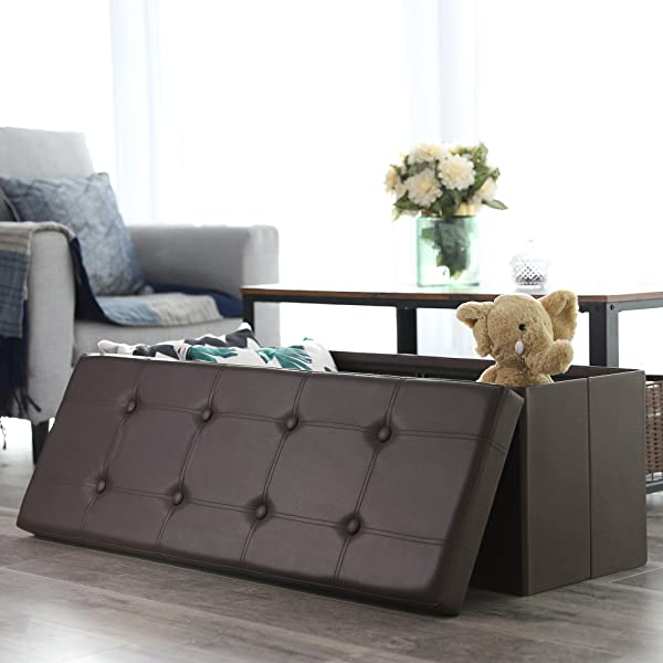 "SONGMICS 43"" L Faux Leather Folding Storage Ottoman Bench, Storage Chest Footrest Padded Seat, Brown ULSF703"