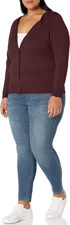 Essentials Damen Plus Size Lightweight Crewneck Cardigan Sweater