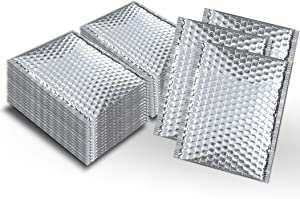 Pack of 100 Thermal Insulated Bubble Mailers 8x11 Food Grade Padded envelopes 8 x 11 by Amiff. Silver Cushion envelopes. Peel and Seal. Metallic foil. Mailing, Shipping, Packing, Packaging.