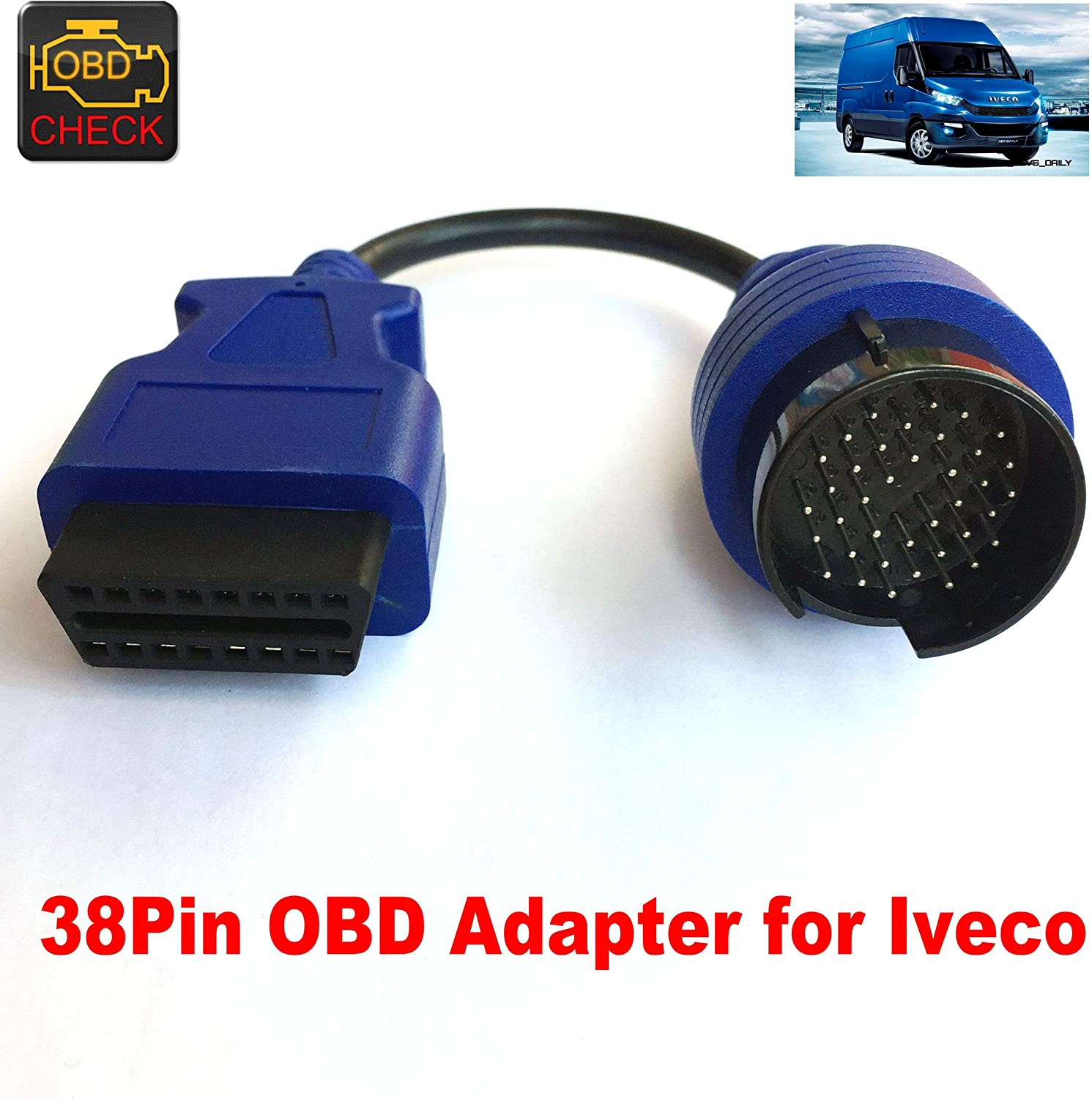 38Pin OBD Adapter to 16Pin OBDII Cable for I-v-e-c-o Truck Diagnostic Connector