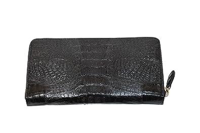 f826196614f6 マット仕上げ カイマン ワニ革 本革 ラウンドファスナー 財布 ブラック メンズ s45