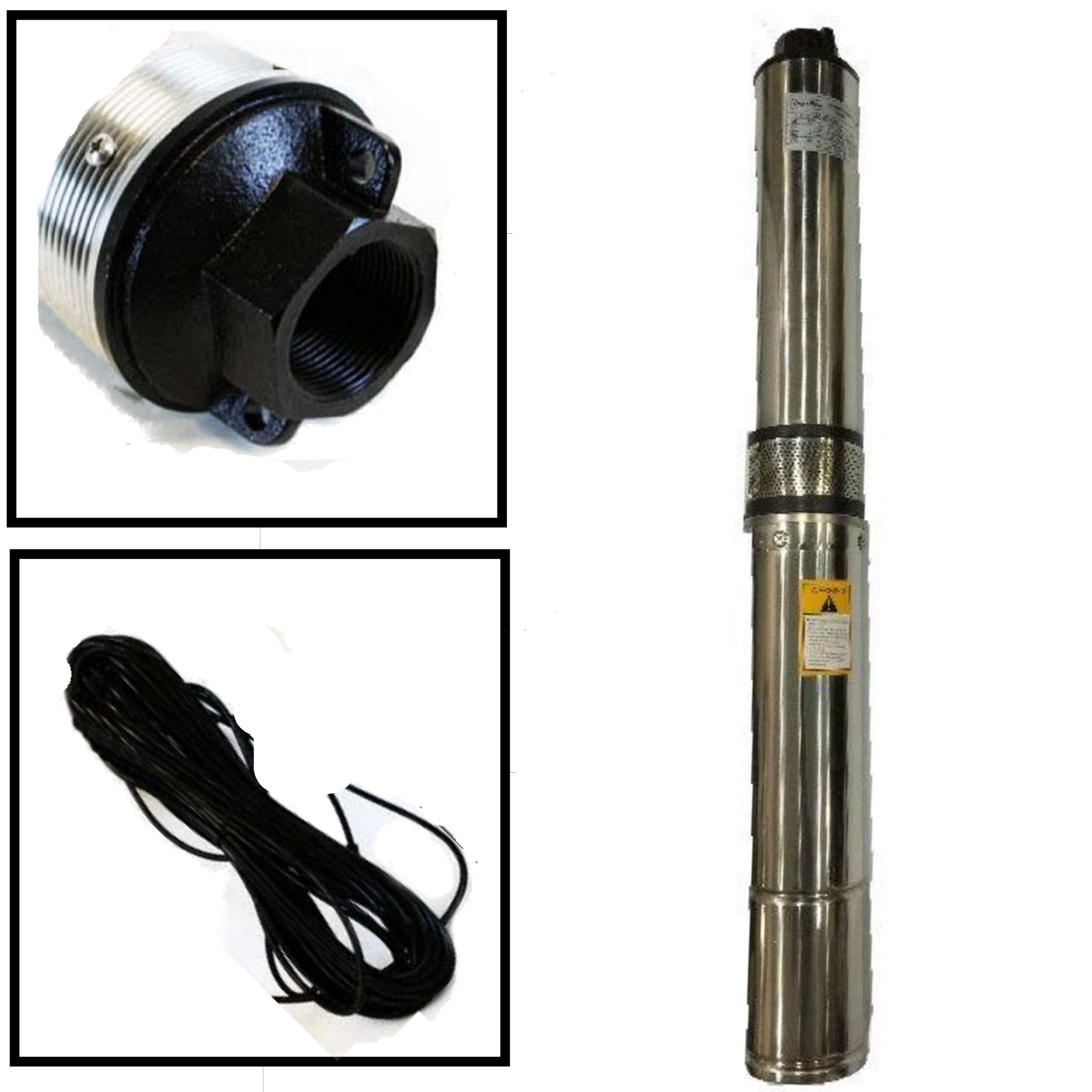 NEW Deep Well Submersible Pump, 4'' 1/2 HP, 220V, 25 GPM, 150 ft Max, long life