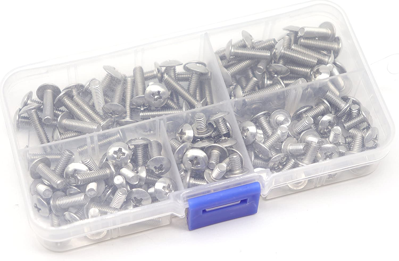cSeao 150pcs 304 Stainless Steel M4 Truss Phillips Head Machine Screws Assortment Kit M4x6mm// 8mm// 12mm// 14mm// 16mm