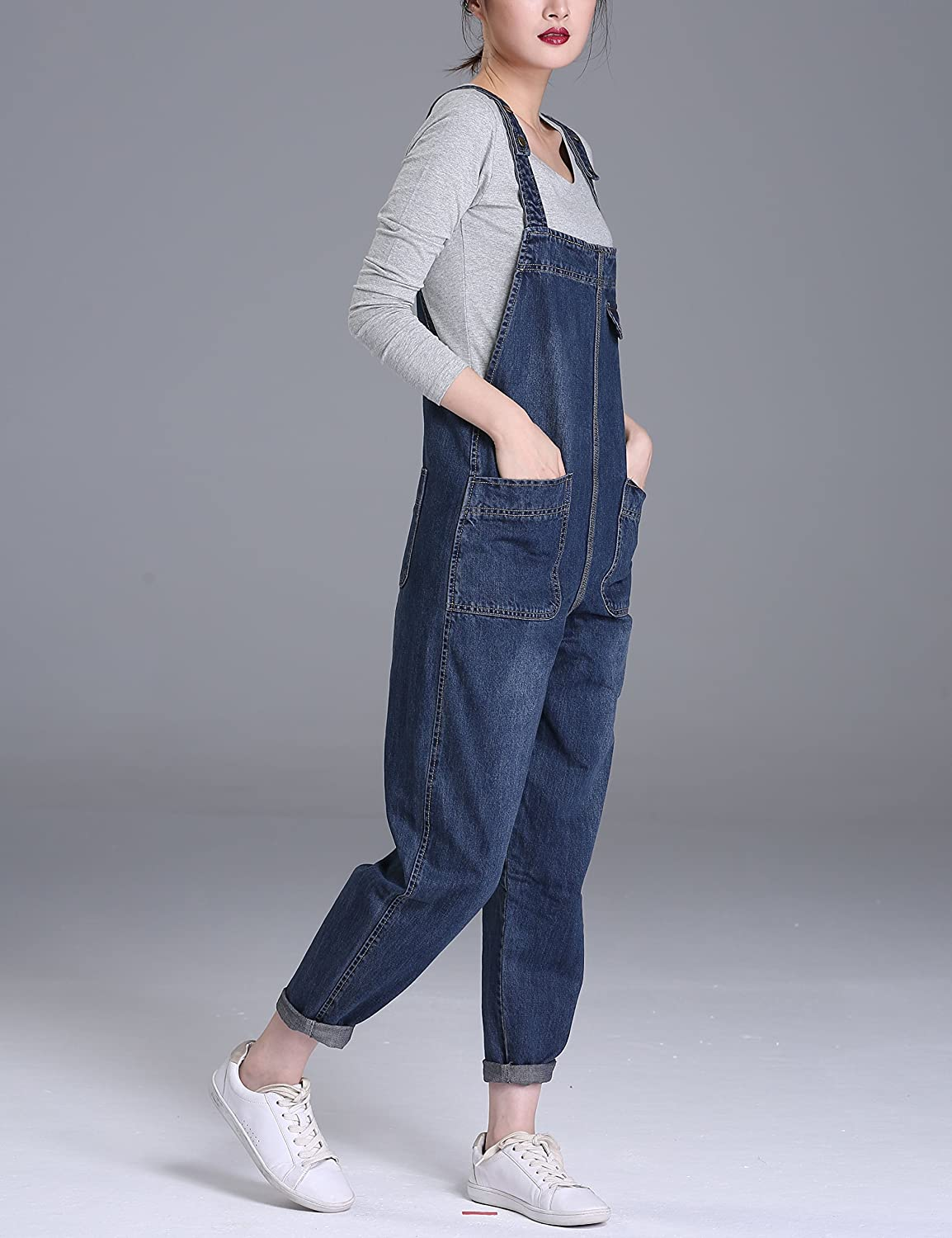 Yeokou Womens Casual Denim Bib Cropped Overalls Pant Jeans Jumpsuits