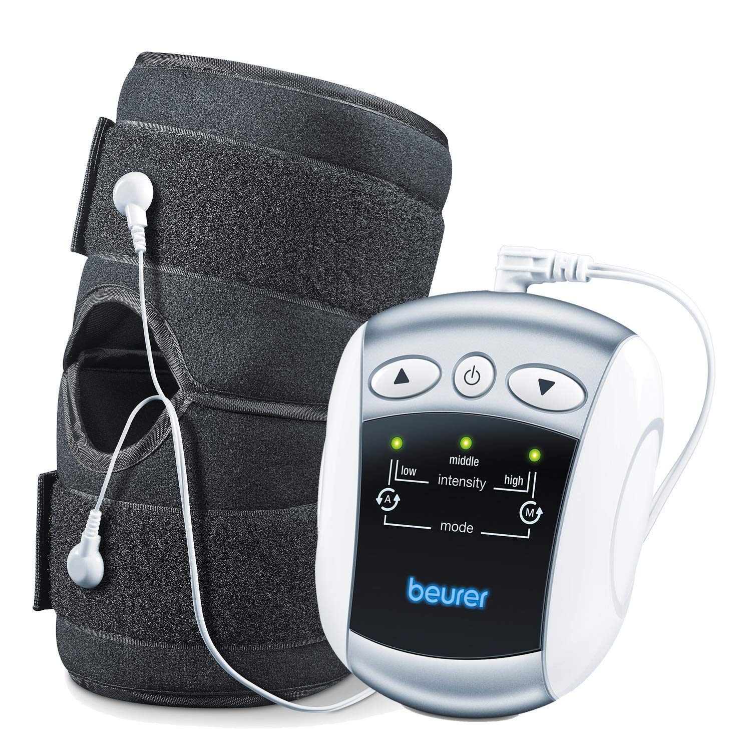 Beurer 2-in-1 Electrostimulation Tens Device with Knee and Elbow Universal Cuff, Stimulates Knee or Elbow to Alleviate Pain, Non Invasive Drug Free Pain Relief, EM34,1 Count,Pack of 1