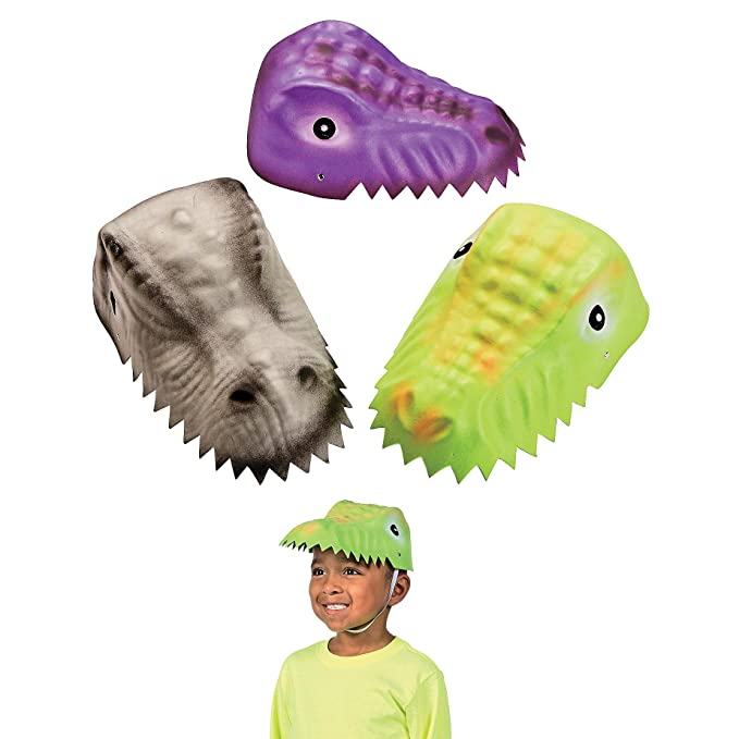 Fun Express Molded Child's Dinosaur Foam Party Hats - 12 Pack Assorted Designs