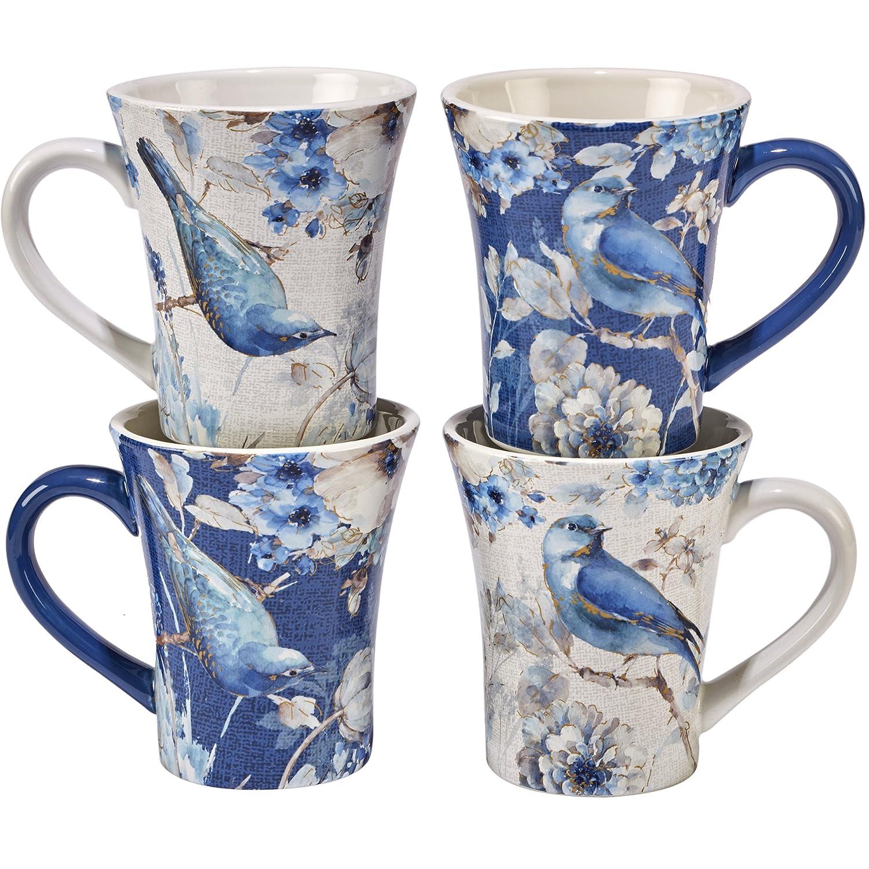 Set of 4 Multicolor Certified International Indigold Bird Mugs 15 oz