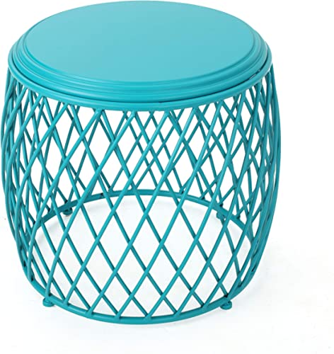Christopher Knight Home Bryony Indoor 19 Diameter Lattice Iron Side Table, Matte Teal