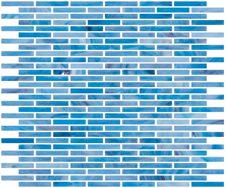 Susan Jablon Mosaics 1//4 Inch Watercolor Blue Stained Glass Subway Tile