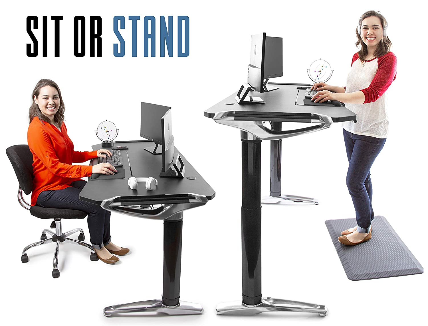 Stand Steady Tranzendesk Executive Standing Desk Sit to Stand Up Desk with Programmable Electric Lift Chrome Detailing Fully Adjustable Keyboard Tray Great for Home Office Gaming 55