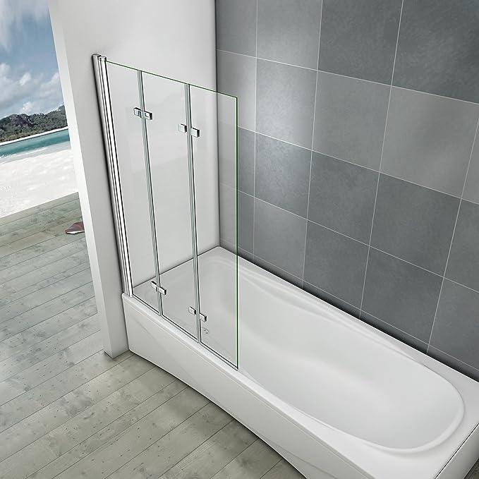 Mampara de baño 130 x 140 cm cristal antical mampara de ducha 3 Volets pivotante de 180 °: Amazon.es: Bricolaje y herramientas