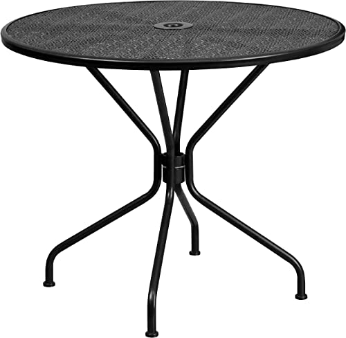 Flash Furniture Commercial Grade 35.25″ Round Black Indoor-Outdoor Steel Patio Table