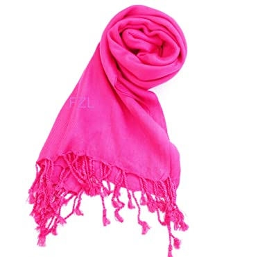 Stunning Plain Pashmina Shawl Scarf Wrap 9 Colours New - Hot Pink ... 830b58a22b2d2